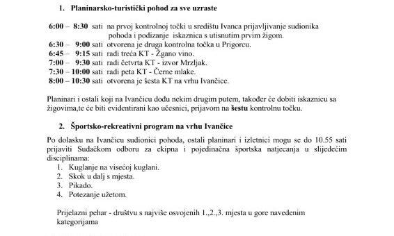 """Akcija """"Kretanje-zdravlje"""", nedjelja 28.07.2019. na Ivančici"""